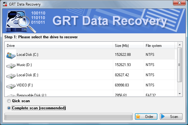 GRT Data Recovery Screenshot 1