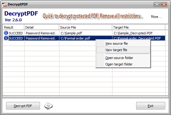 DecryptPDF Screenshot