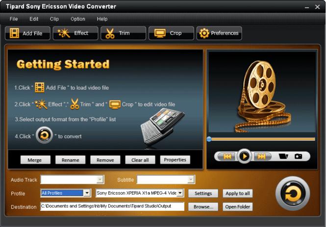 Tipard Sony Ericsson Video Converter Screenshot 2