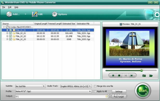 Wondershare DVD to Mobile Phone Converter Screenshot