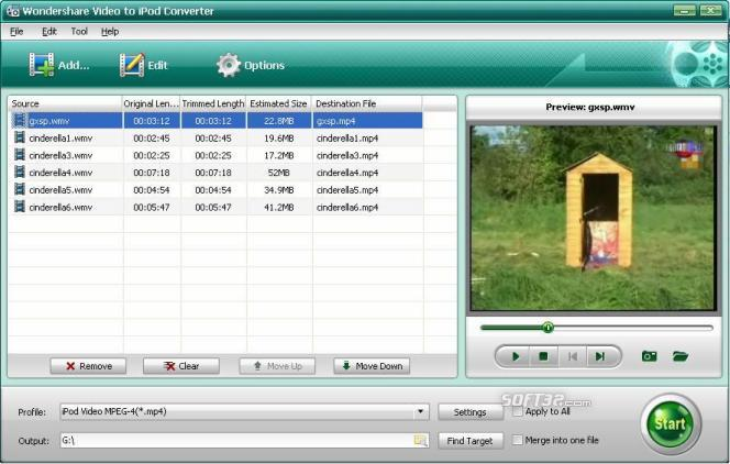 Wondershare Video to iPod Converter Screenshot