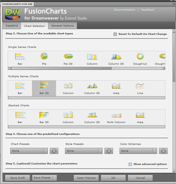 FusionCharts for Dreamweaver - Designer Edition Screenshot