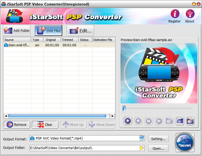 iStarSoft PSP Video Converter Screenshot