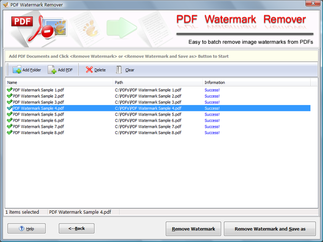 PDF Watermark Remover Screenshot