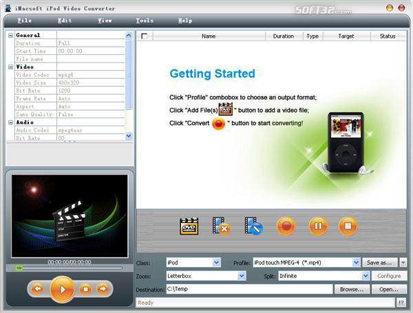 iMacsoft iPod Video Converter Screenshot 2
