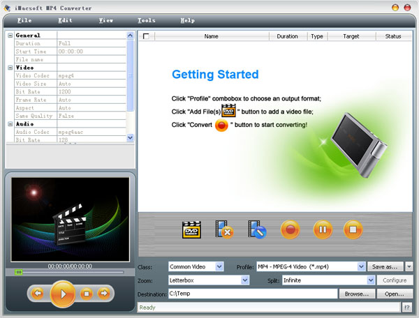iMacsoft MP4 Converter Screenshot