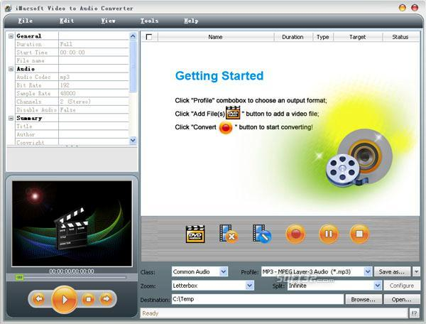iMacsoft Video to Audio Converter Screenshot 2