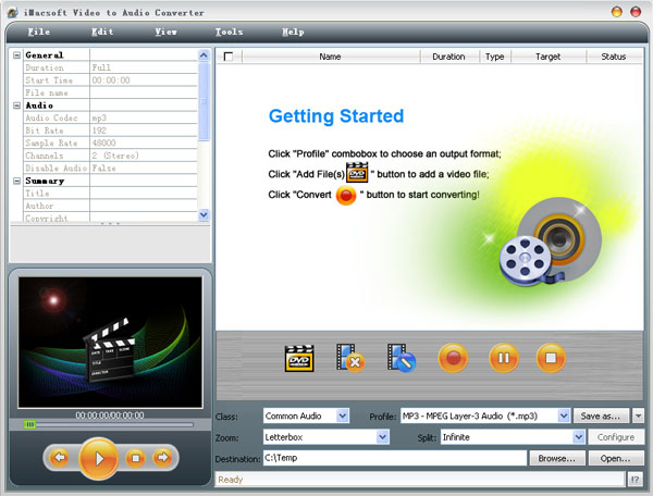 iMacsoft Video to Audio Converter Screenshot 1