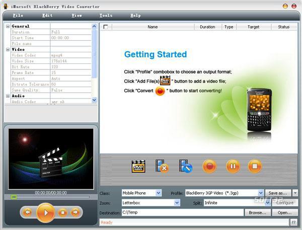 iMacsoft BlackBerry Video Converter Screenshot 2