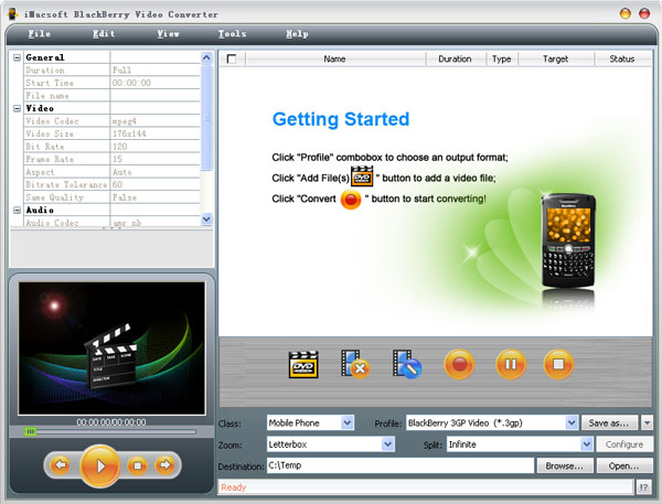 iMacsoft BlackBerry Video Converter Screenshot