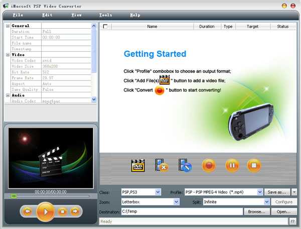 iMacsoft PSP Video Converter Screenshot