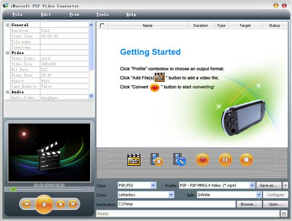 iMacsoft PSP Video Converter Screenshot 1