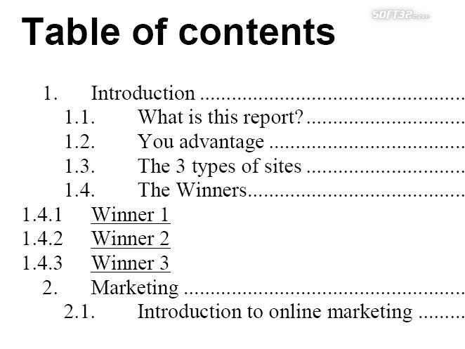 The Free Website Report Screenshot 1