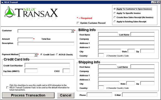 NELiX TransaX QuickBooks Credit Card Module Screenshot
