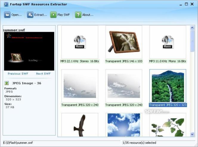 SWF Resources Extractor Screenshot 2