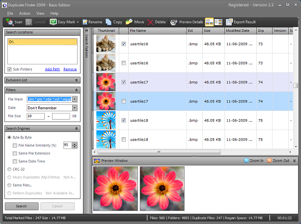 Duplicate Finder 2009 - Basic Edition Screenshot