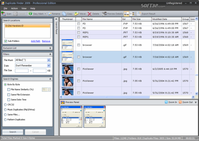 Duplicate Finder 2009 - Basic Edition Screenshot 2