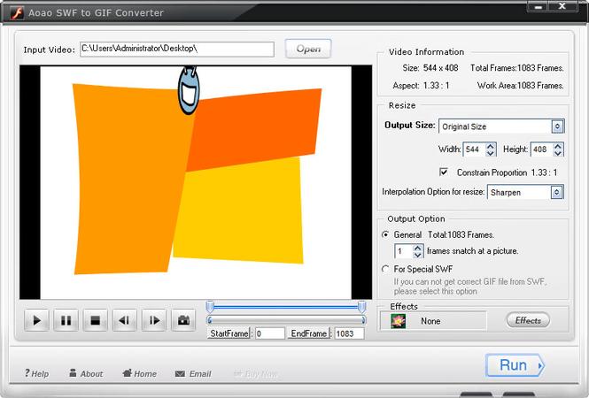 Aoao SWF to GIF Converter Screenshot