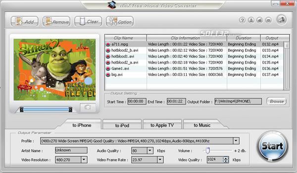 WinX Free iPhone Video Converter Screenshot 3