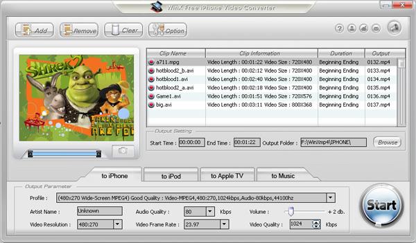 WinX Free iPhone Video Converter Screenshot 1