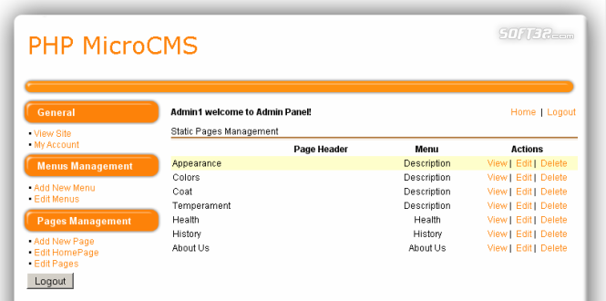 PHP MicroCMS - PHP Web Content Management System Script Screenshot 3
