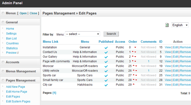 PHP MicroCMS - PHP Web Content Management System Script Screenshot 1