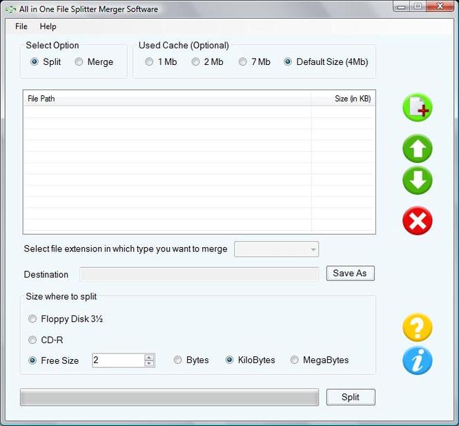 File Splitting Software Screenshot