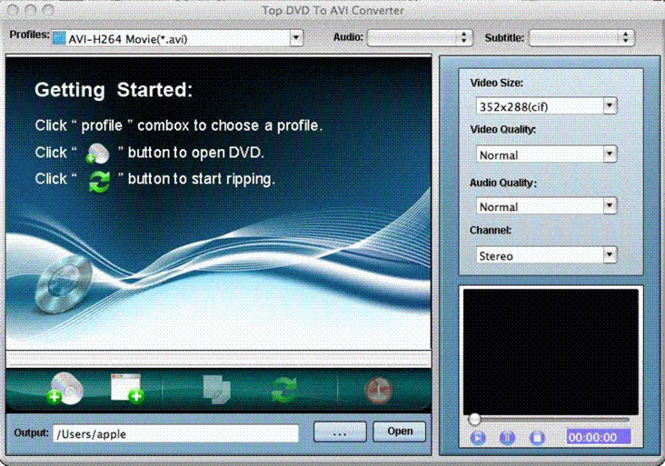 TOP DVD to AVI Converter for Mac Screenshot