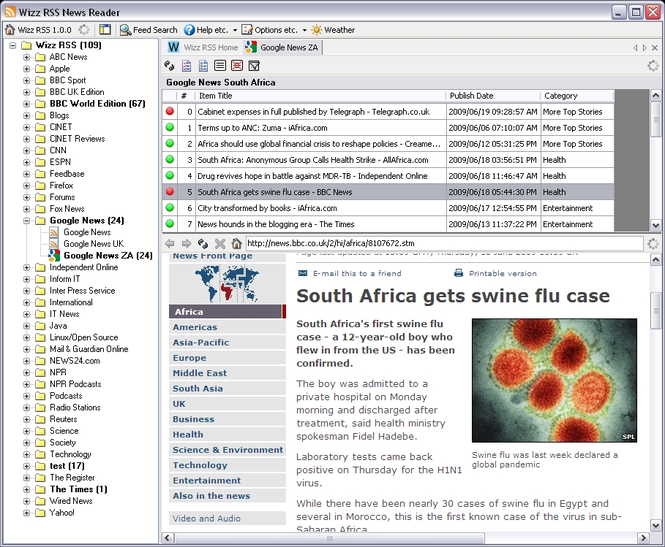 Wizz RSS News Reader Screenshot