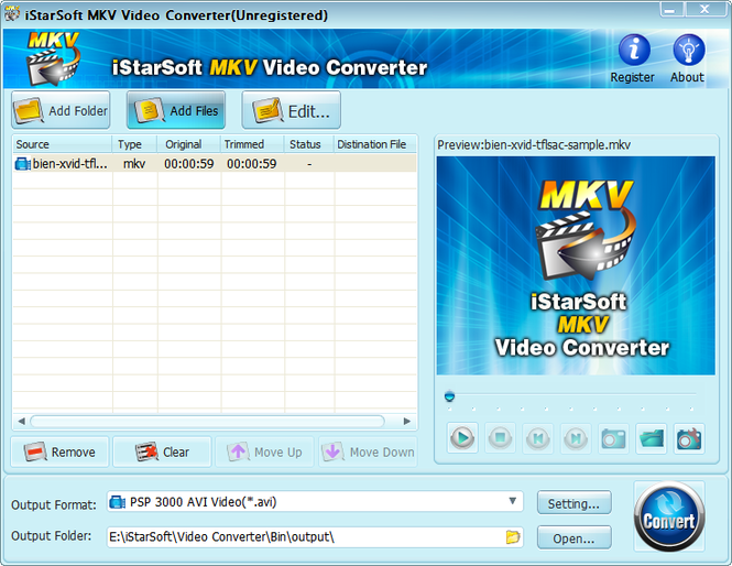 iStarSoft MKV Video Converter Screenshot