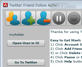 TFAdder Twitter Friend Adder Screenshot