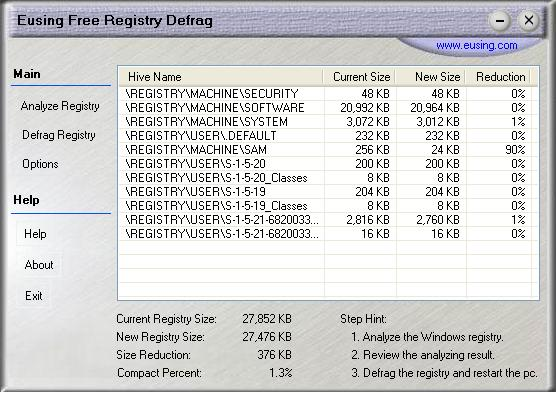 Eusing Free Registry Defrag Screenshot 3