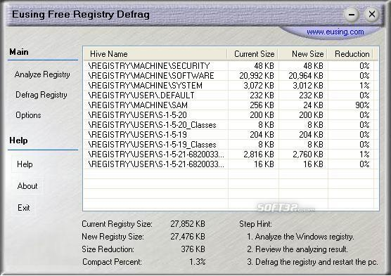 Eusing Free Registry Defrag Screenshot 2