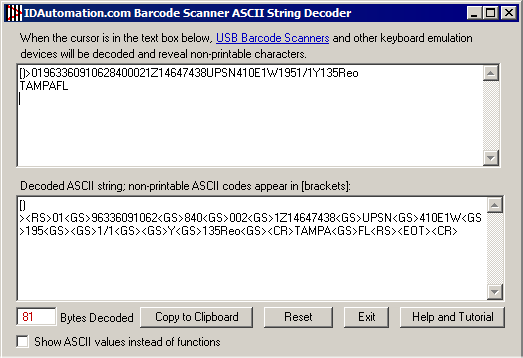 Barcode Scanner ASCII String Decoder Screenshot