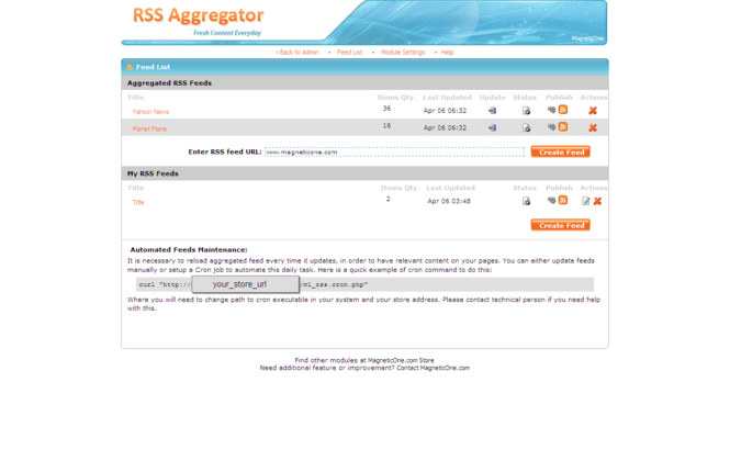 RSS Aggregator for CRE Loaded Screenshot