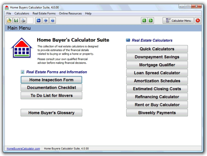 Home Buyers Calculator Suite Screenshot