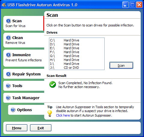 USB Flash Drive Autorun Antivirus Screenshot