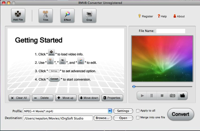 RMVB Converter for Mac Screenshot