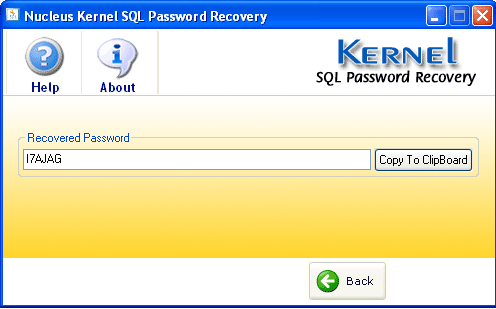 SQL Password Recovery Screenshot
