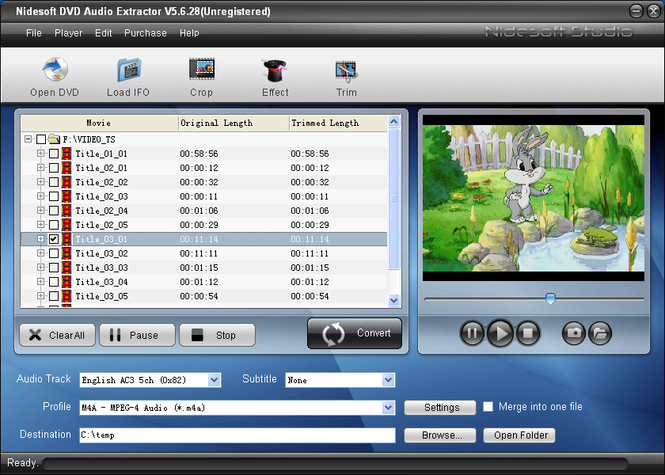 Nidesoft DVD Audio Extractor Screenshot 2