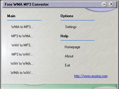 Eusing Free WMA MP3 Converter Screenshot