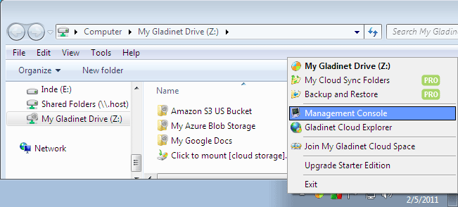 Gladinet Cloud Desktop Screenshot