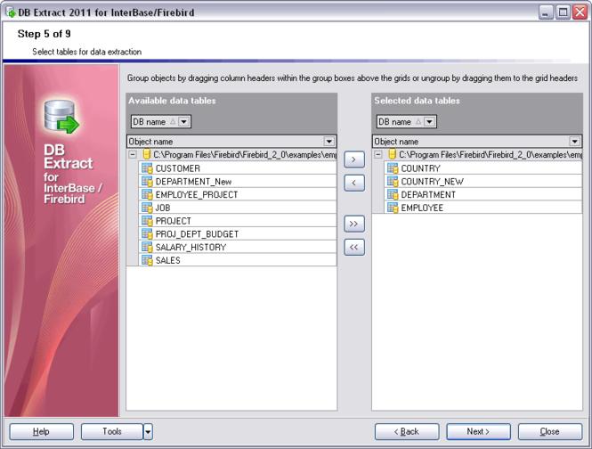 EMS DB Extract for InterBase/Firebird Screenshot