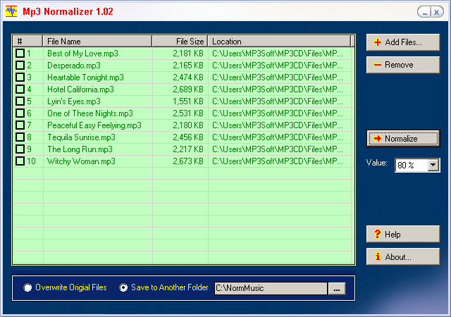 MP3 Normalizer Screenshot