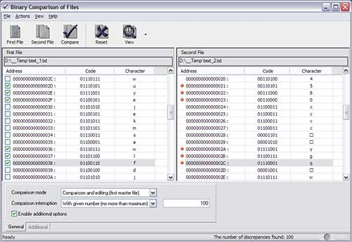 Binary Comparison of Files Screenshot 1