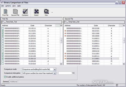 Binary Comparison of Files Screenshot 2