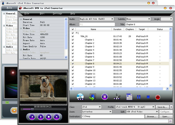 iMacsoft DVD to iPod Suite Screenshot
