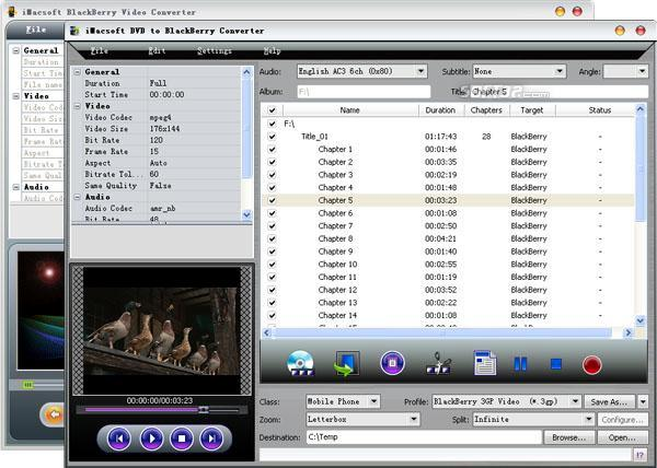 iMacsoft DVD to BlackBerry Suite Screenshot 2