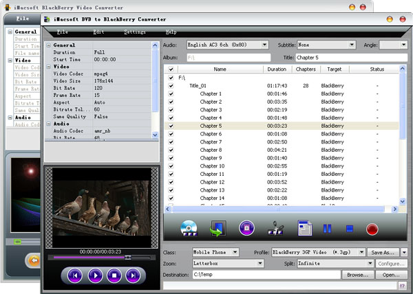 iMacsoft DVD to BlackBerry Suite Screenshot 3