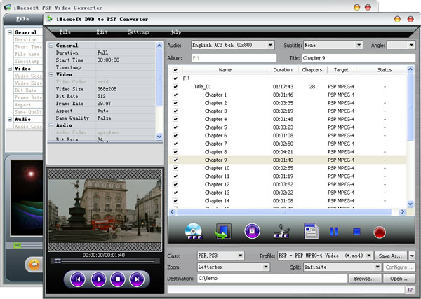 iMacsoft DVD to PSP Suite Screenshot